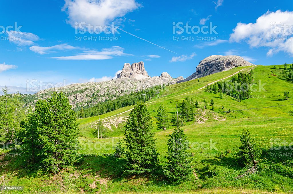 Mountain landscape with green pines, Italy stock photo