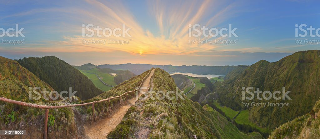 Mountain landscape with hiking trail, Sao Miguel Island, Azores, Portugal stock photo