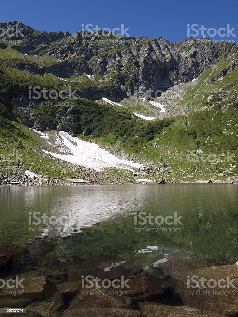 mountain landscape with lake stock photo