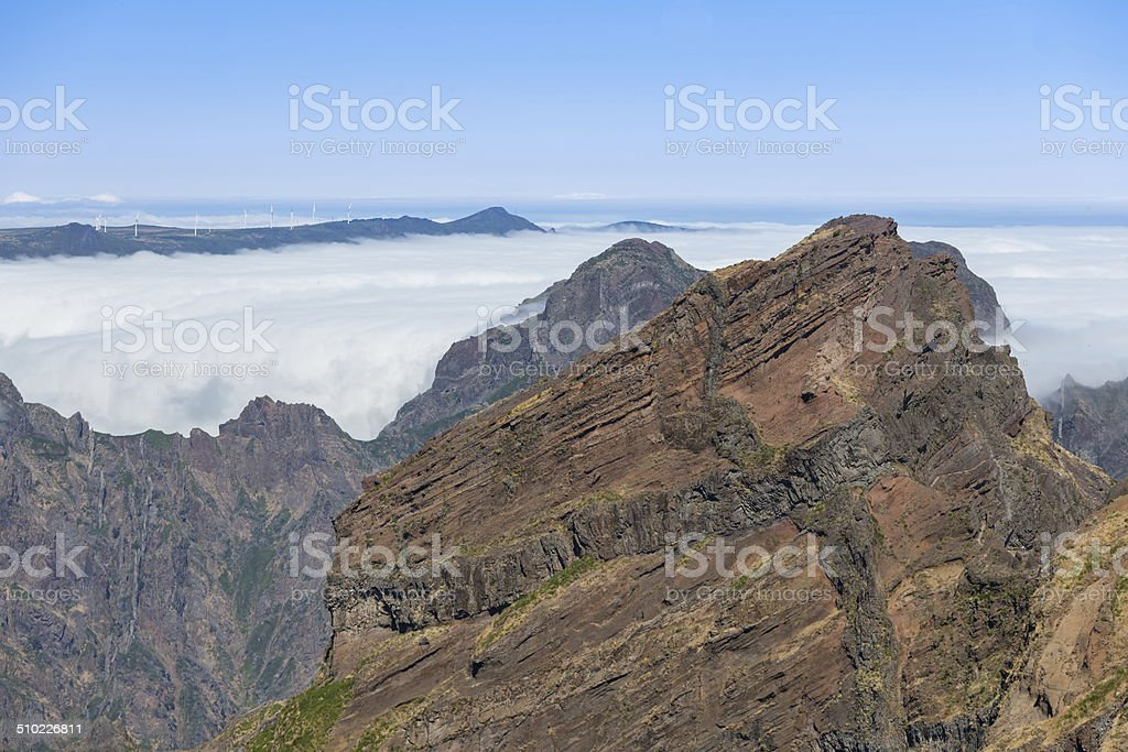Mountain landscape with low-slung clouds at Madeira stock photo