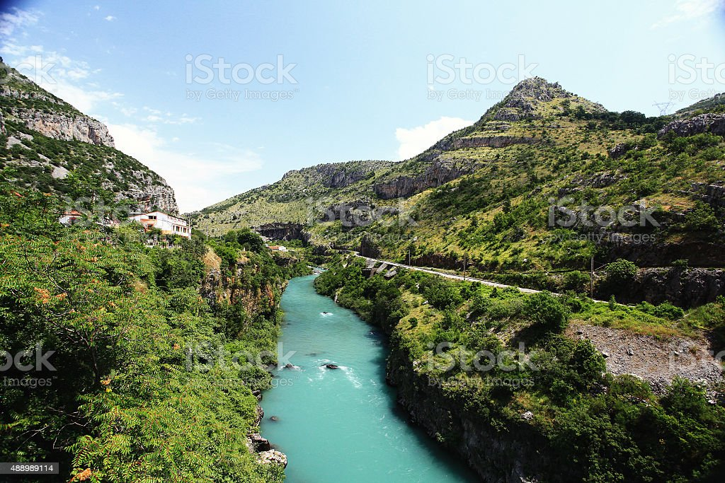 mountain landscape with mountain turbulent river in the gorge stock photo
