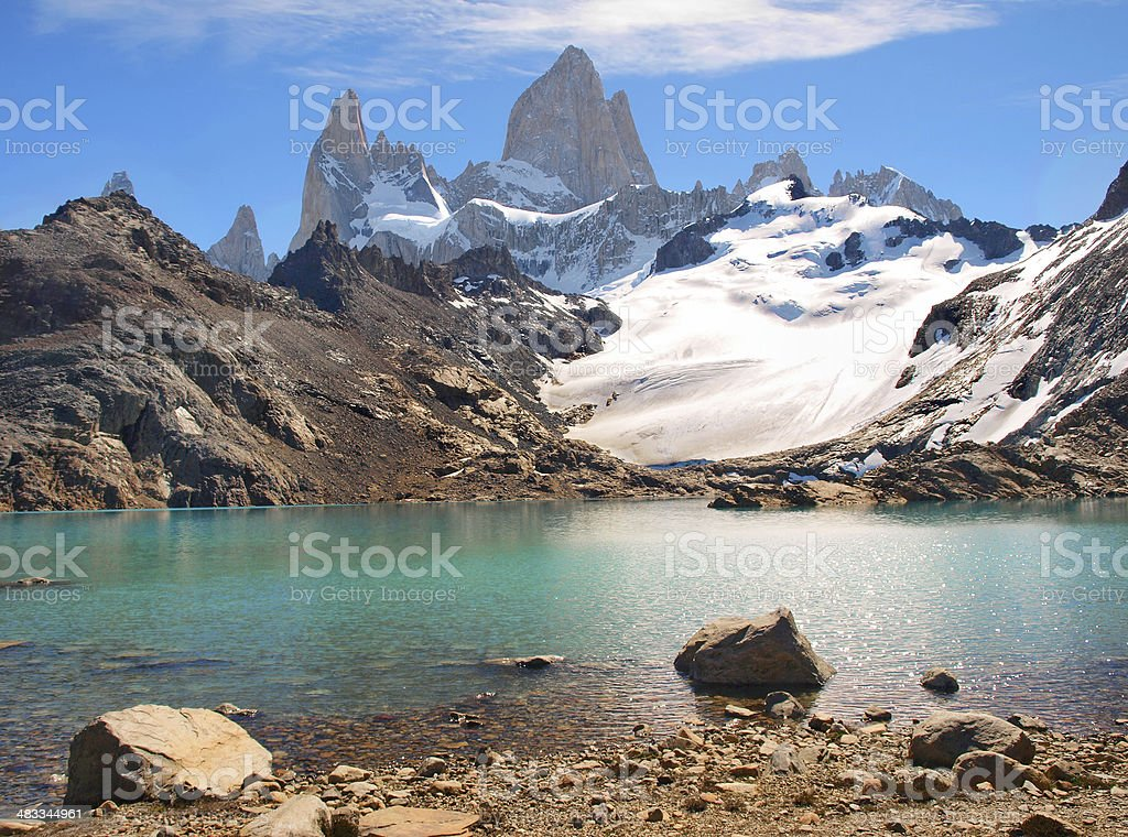 Mountain landscape with Mt Fitz Roy in Patagonia, South America stock photo