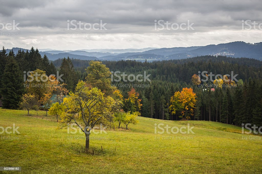 Mountain landscape with overcast sky stock photo
