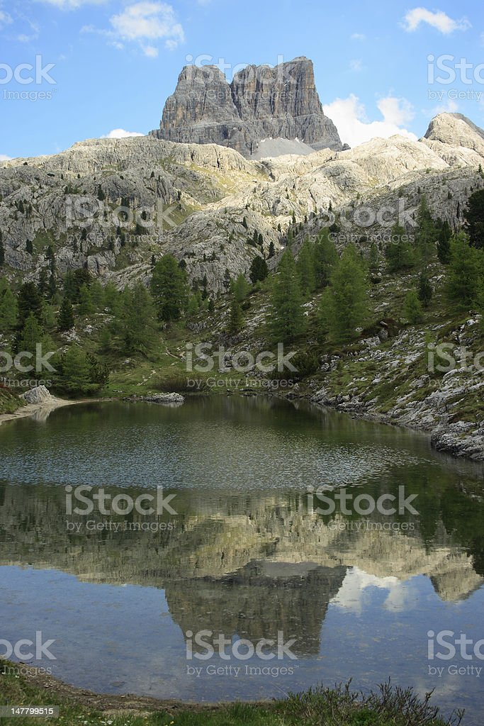 Mountain landscape with pond stock photo