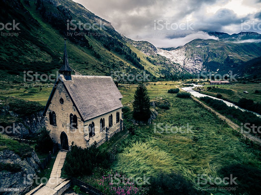 Mountain Landscape with Small Chapel stock photo