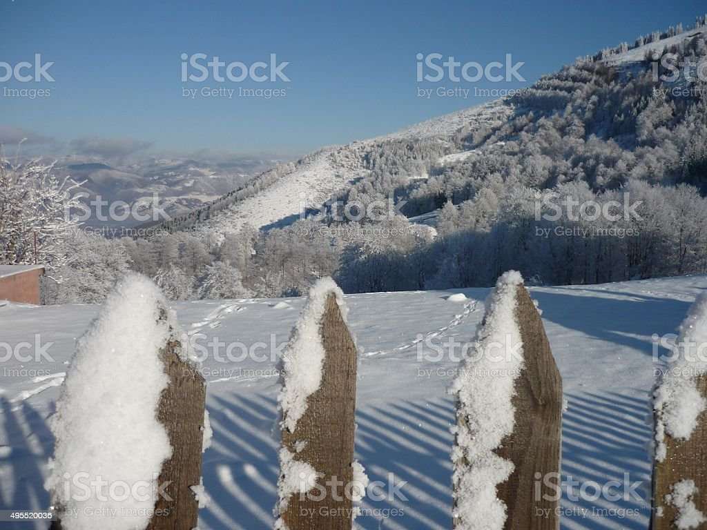 mountain landscape with snow stock photo
