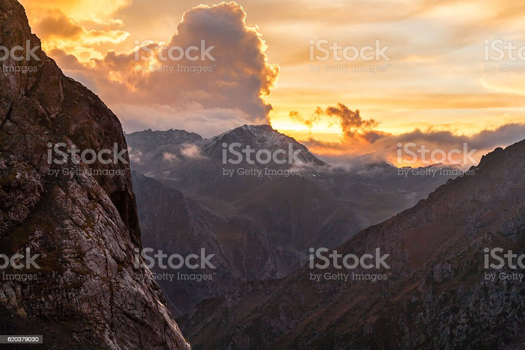 Mountain landscape with sunset of Tien Shan stock photo
