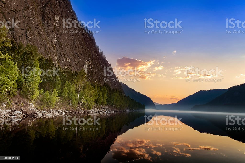 Mountain landscape with the sunrise and the river stock photo