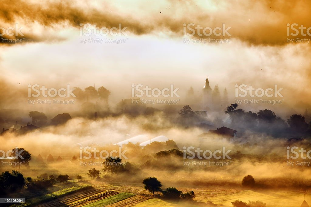 mountain landscape with thick clouds stock photo