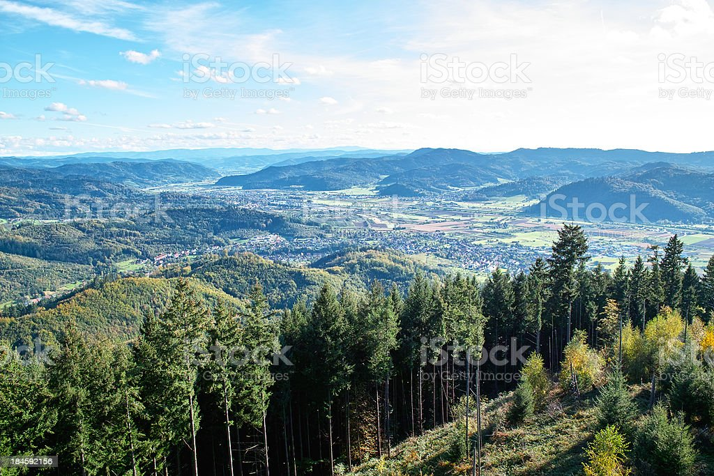 mountain landscape with valley of Kinzig and City Gengenbach stock photo