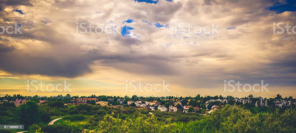 Mountain living. View across numerous rooftops of Colorado Springs, Colorado stock photo