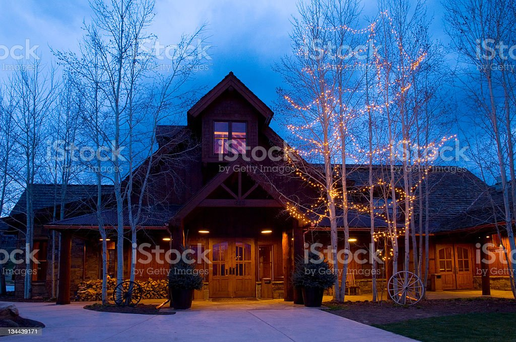 Mountain Lodge at night royalty-free stock photo