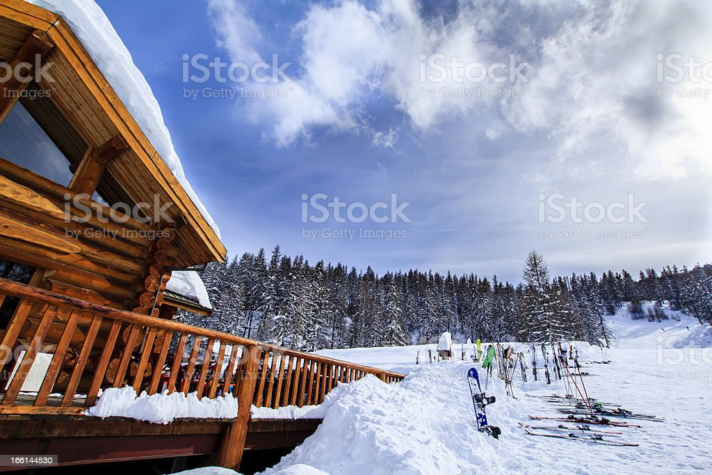 Mountain lodge in Alps royalty-free stock photo