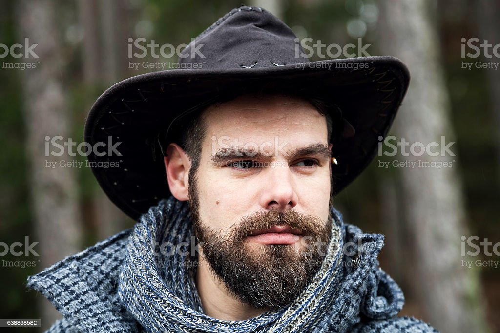 Mountain Man in the wood stock photo