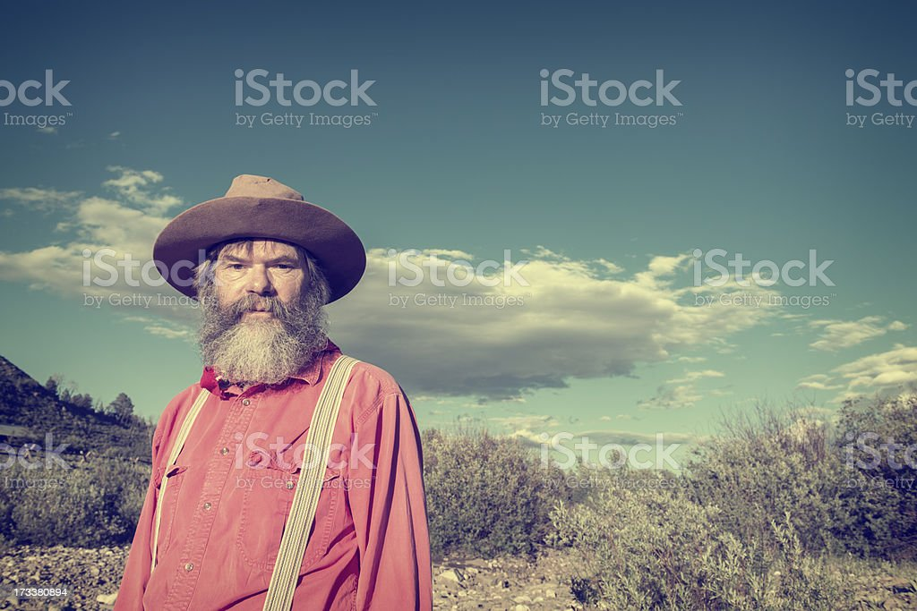 Mountain Man in West Yellowstone, Montana stock photo