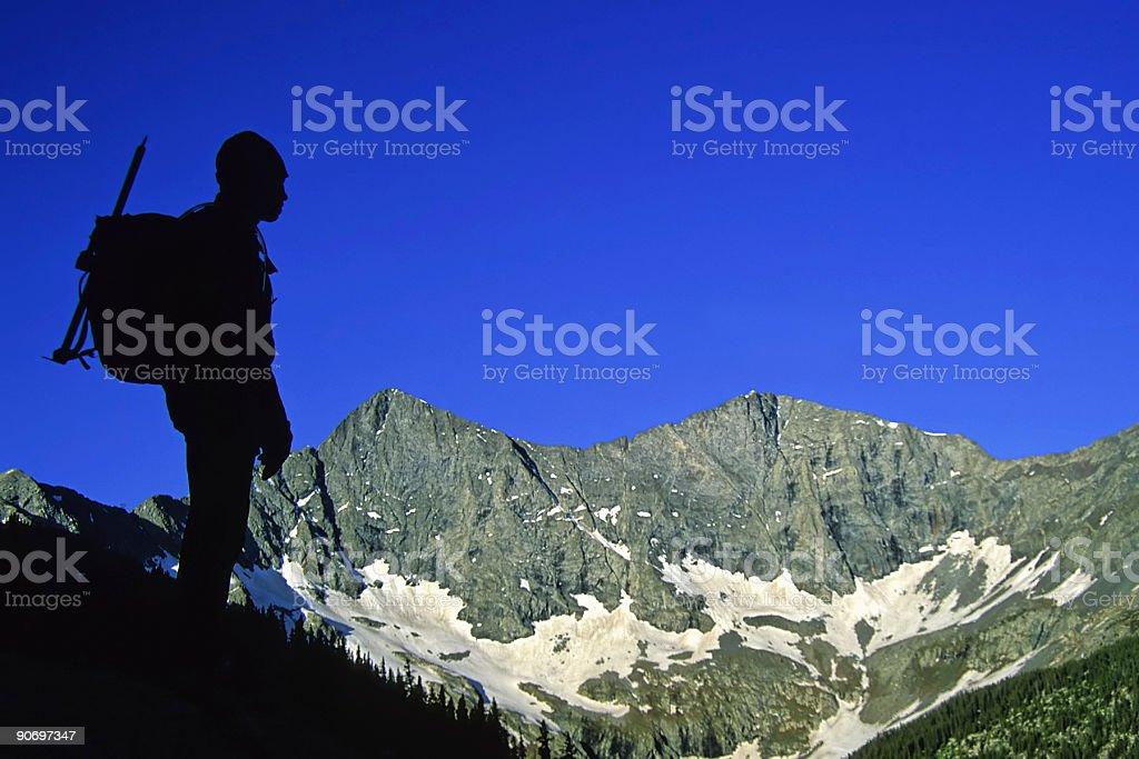 mountain man silhouette royalty-free stock photo