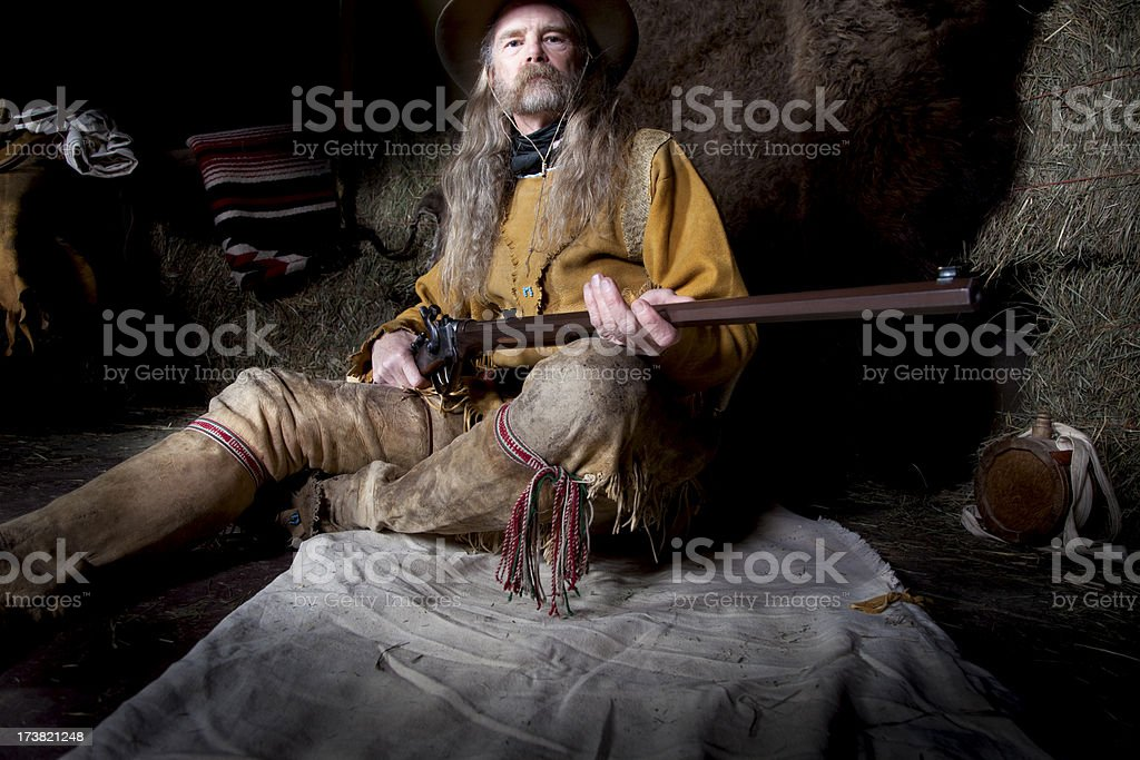 Mountain Man with 45-70 Sharps Buffalo Rifle royalty-free stock photo