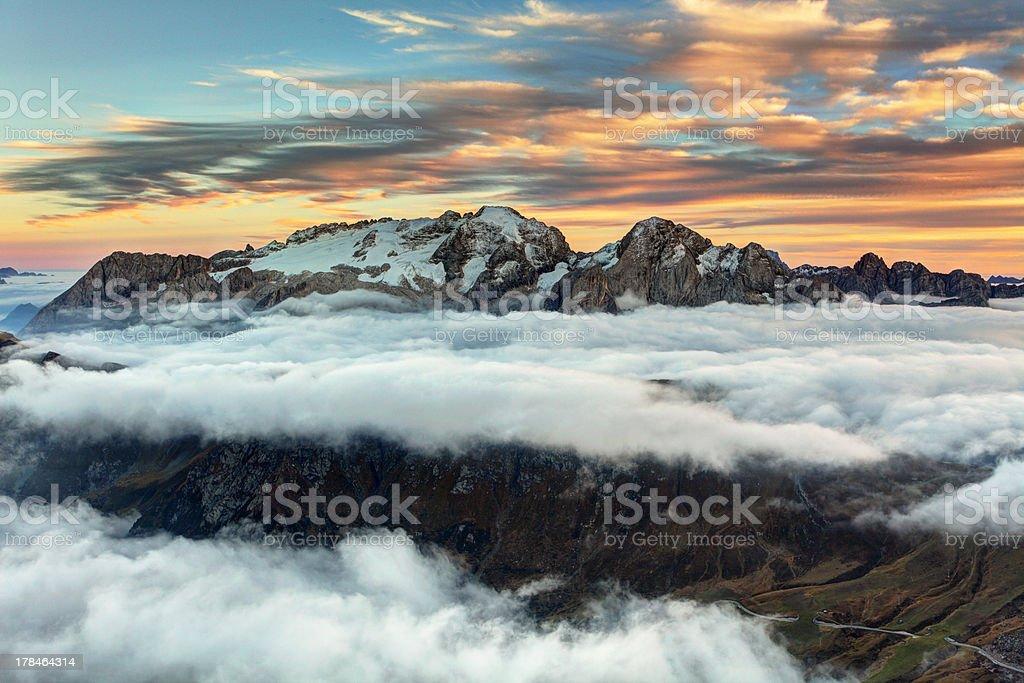 Mountain Marmolada at sunset in Italy dolomites stock photo