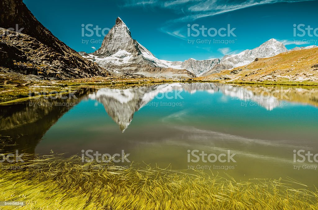 Mountain Matterhorn and Riffelsee with grass stock photo