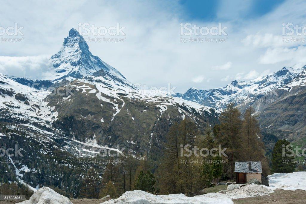 Mountain Matterhorn in Switzerland stock photo