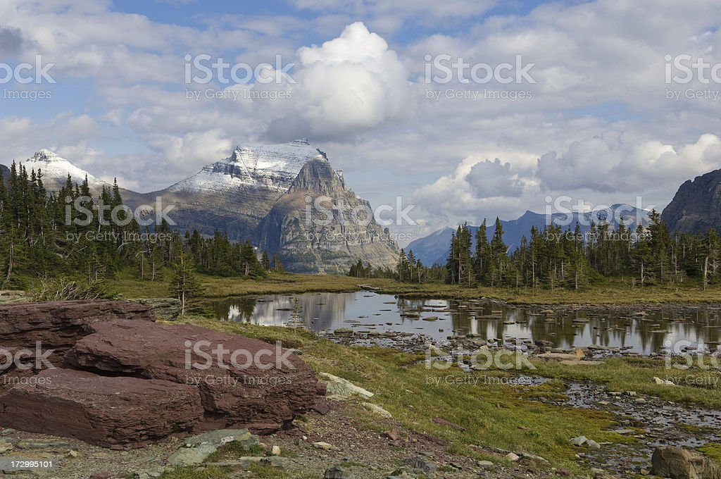 Mountain Meadow and Lake - Glacier National Park stock photo