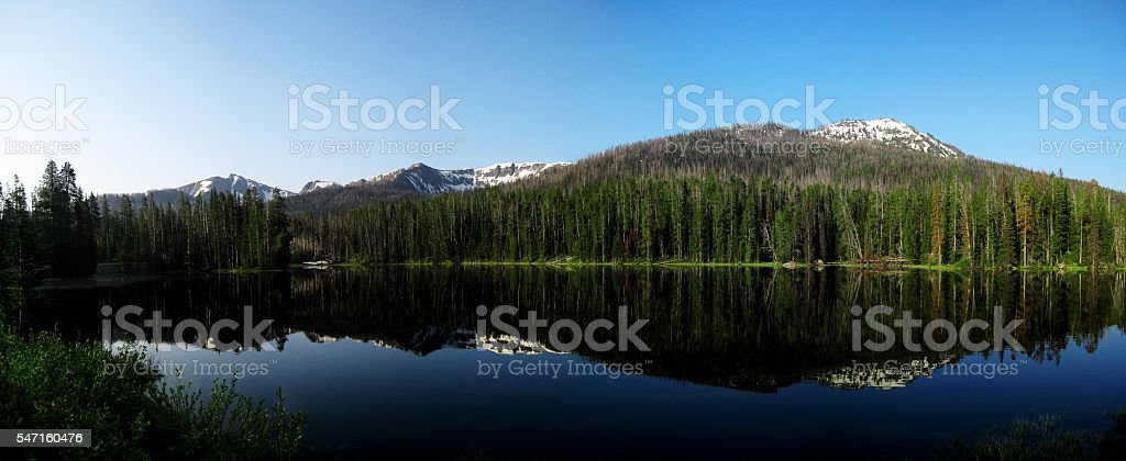 mountain mirrored in the lake in Yellowstone park stock photo