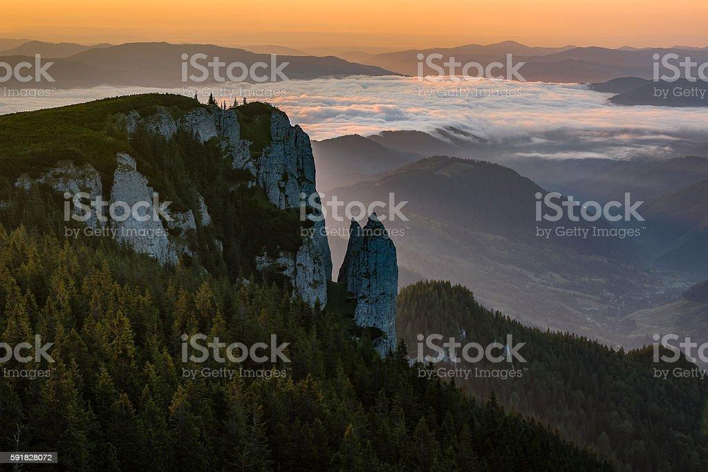 mountain morning landscape stock photo