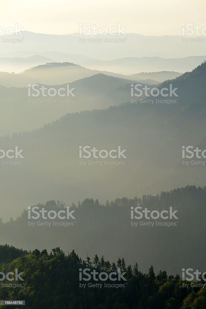 Mountain morning over ridgelines in Smoky Mountains stock photo