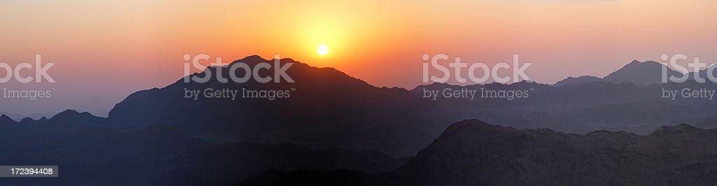 Mountain morning panorama stock photo