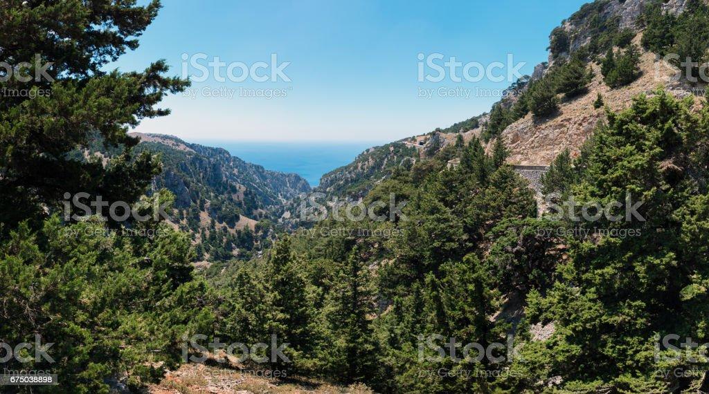 Mountain nature of Crete island near Chora Sfakion town stock photo