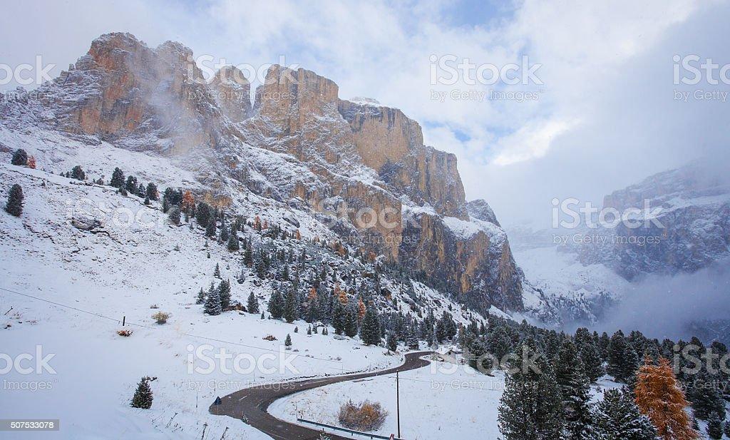 Mountain near Campitello di fassa, Dolomites, Italy stock photo