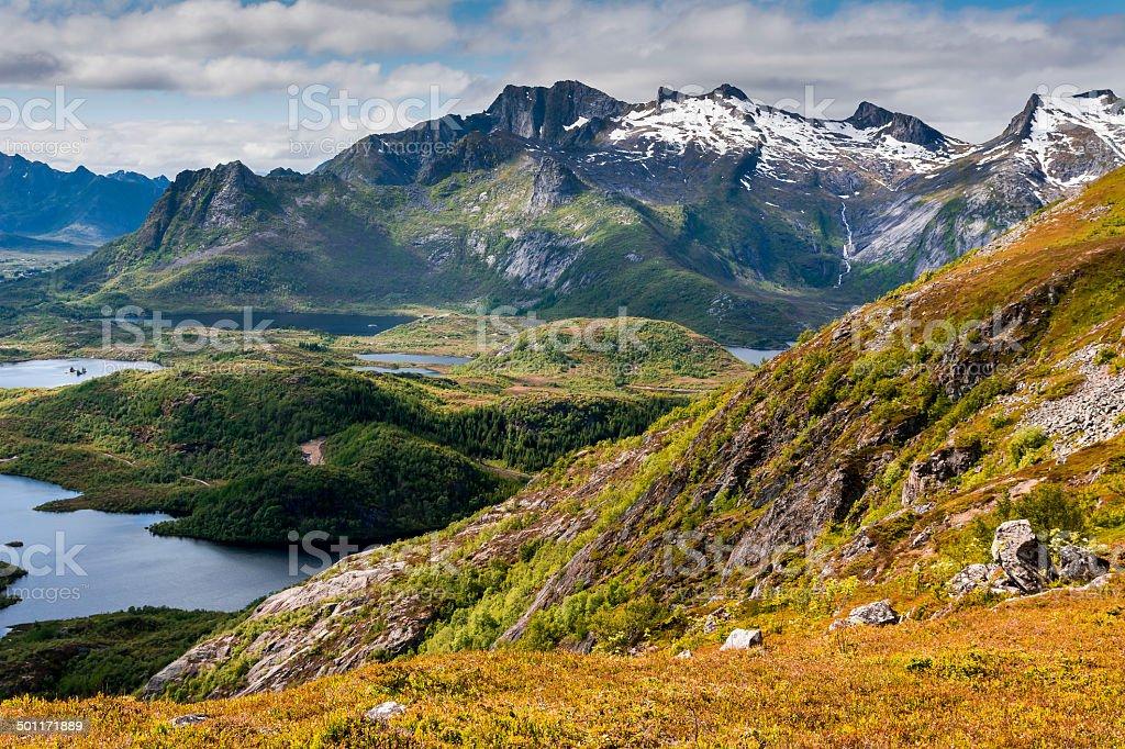 Mountain near Kabelvag stock photo