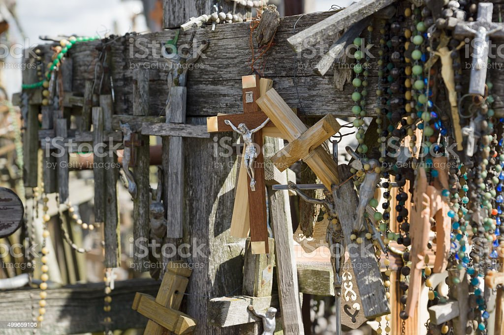 Mountain of crosses stock photo