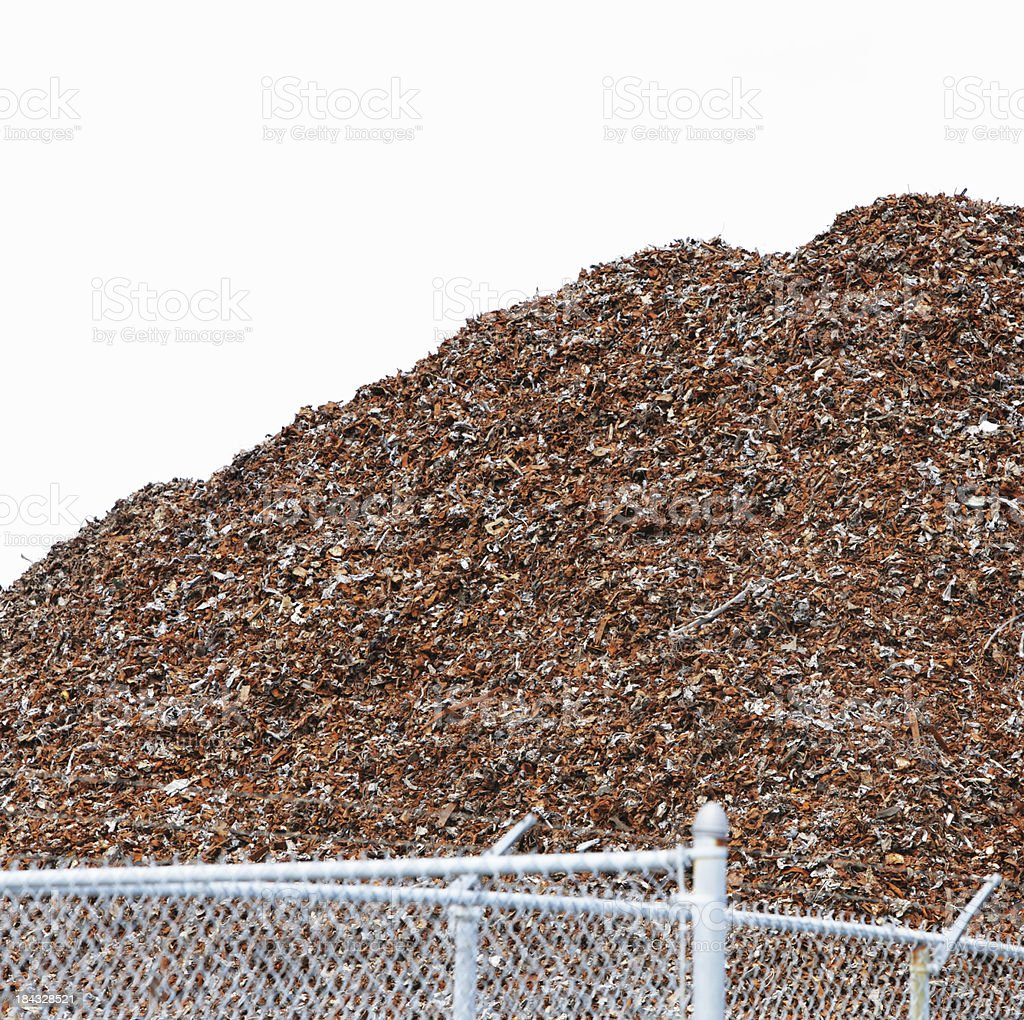 Mountain of Recycled Shredded Scrap Metal royalty-free stock photo
