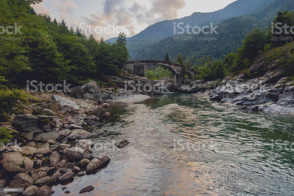 Mountain old bridge stock photo