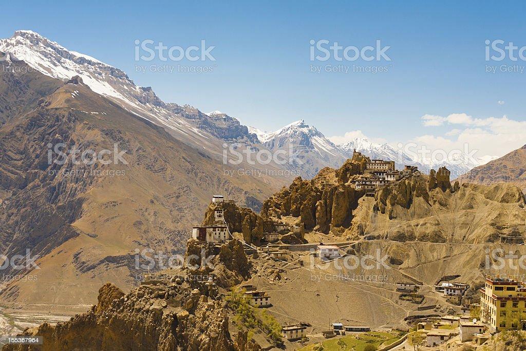 Mountain Old Dhankar Cliff Monastery Spiti Valley stock photo