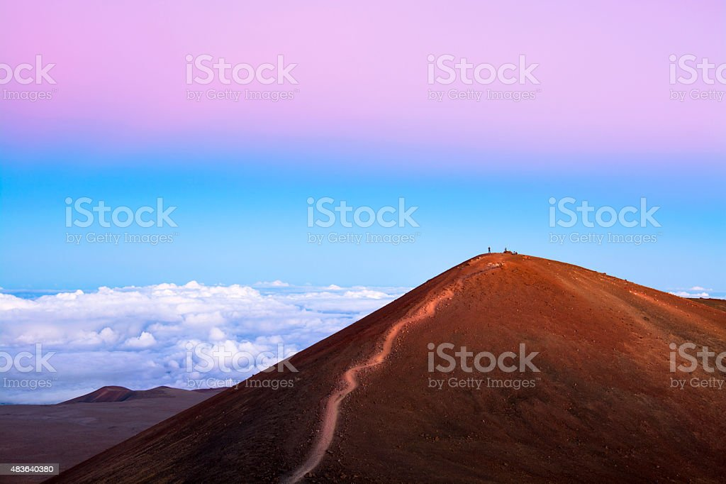 Mountain overlook above the clouds stock photo