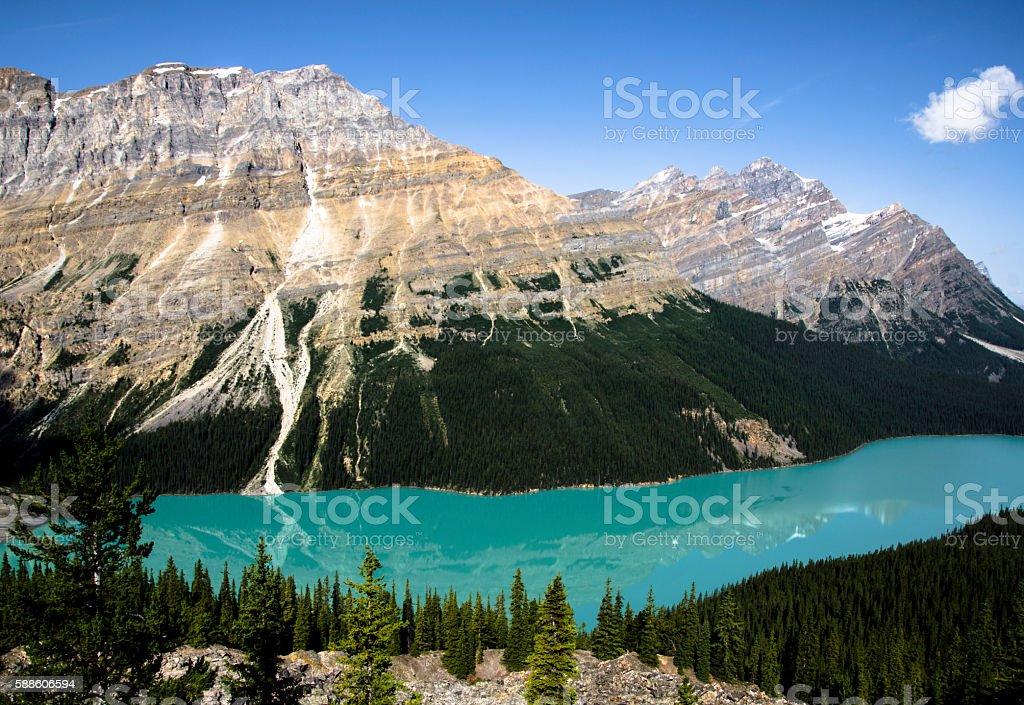 Mountain Overlooking a Lake stock photo