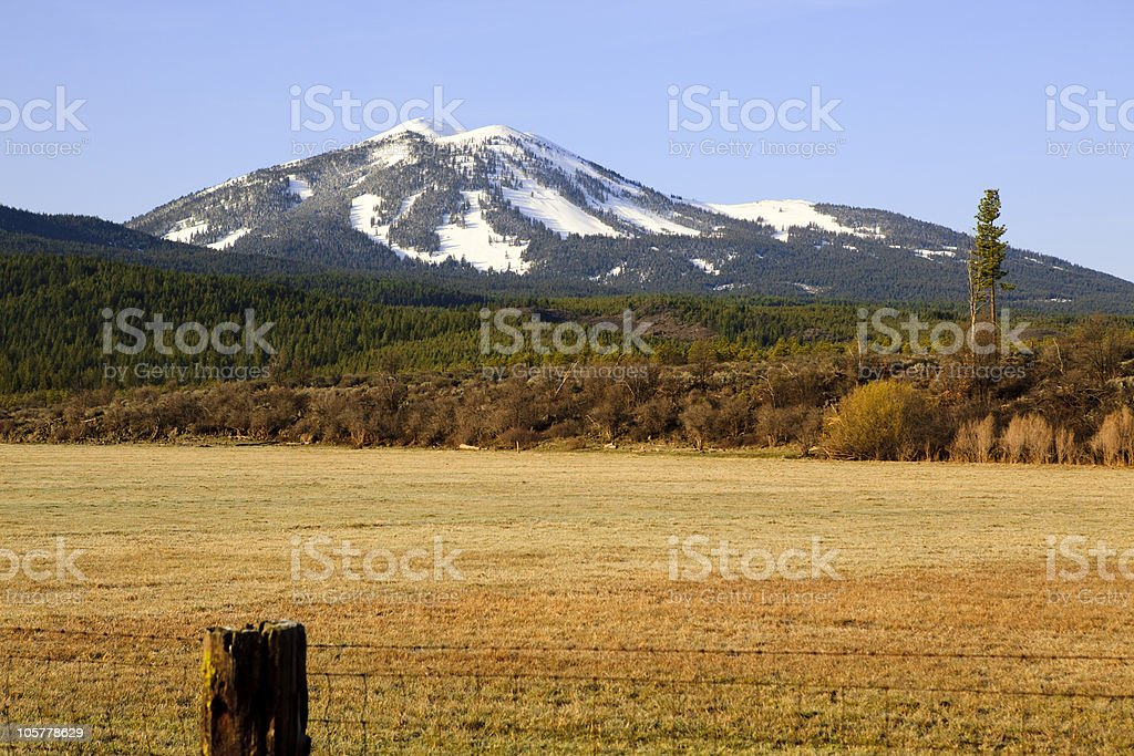 Mountain Overlooking the Pasture royalty-free stock photo