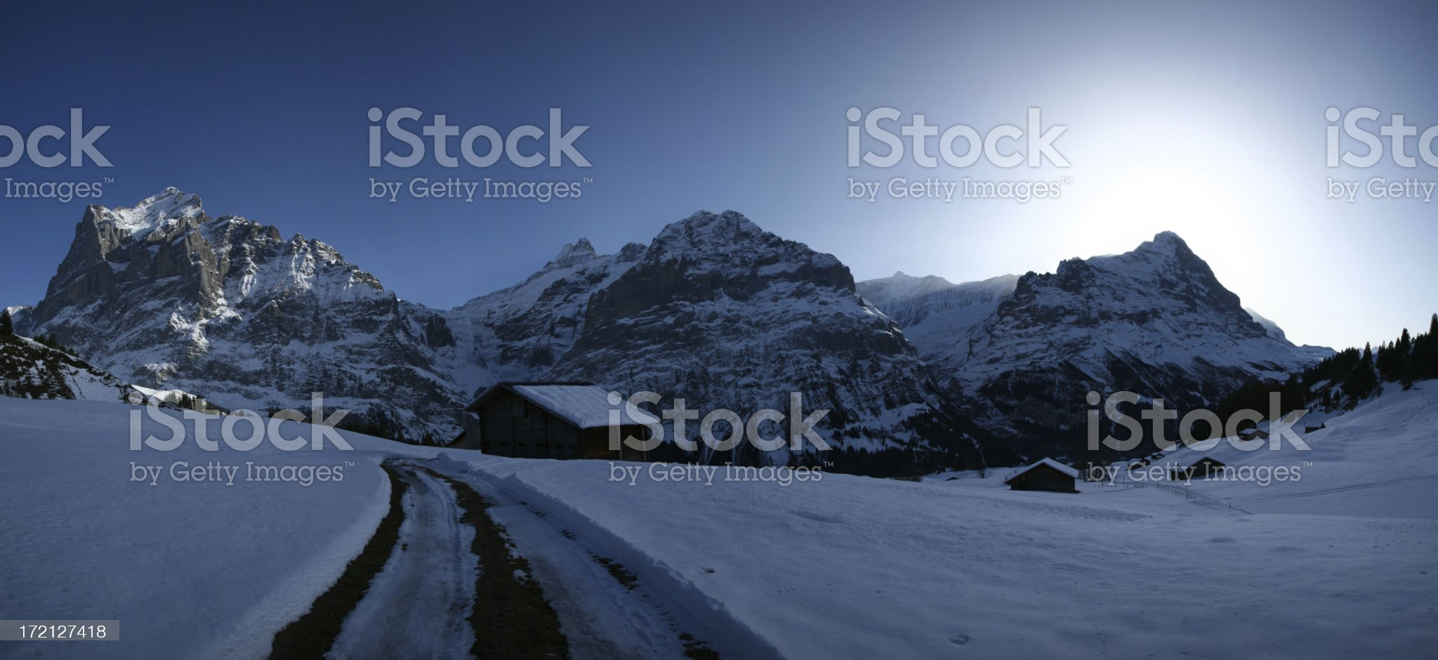 Mountain panarama in winter royalty-free stock photo