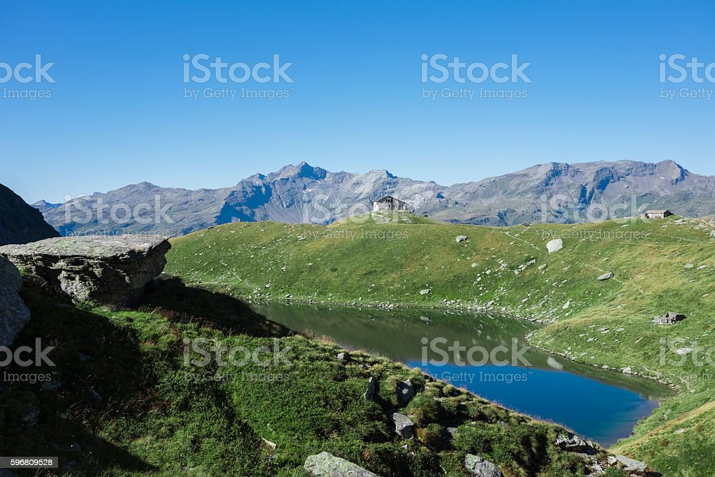 Mountain panorama and alpine lake stock photo