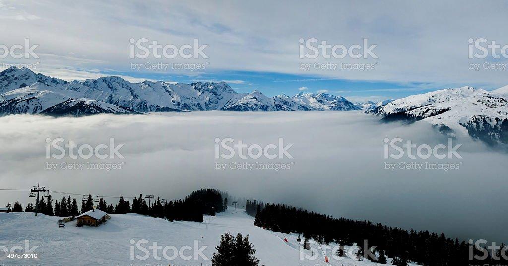 Mountain Panorama at the Austrian Alps Europe stock photo