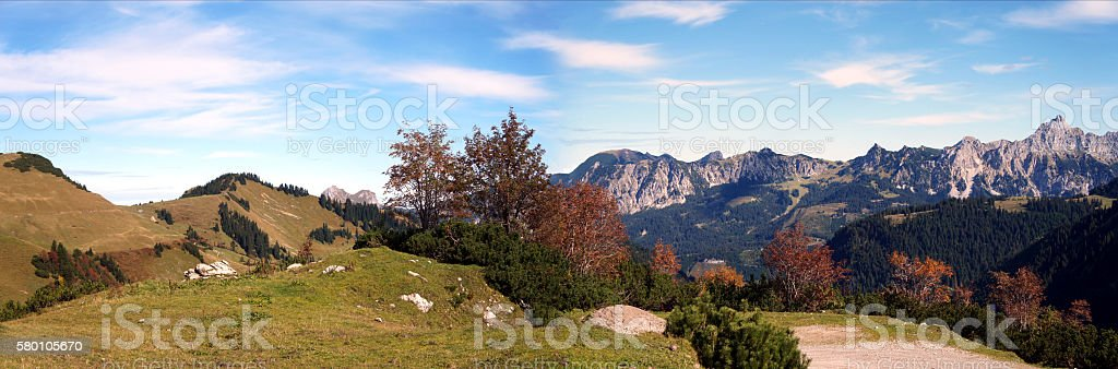 Mountain panorama in autumn stock photo