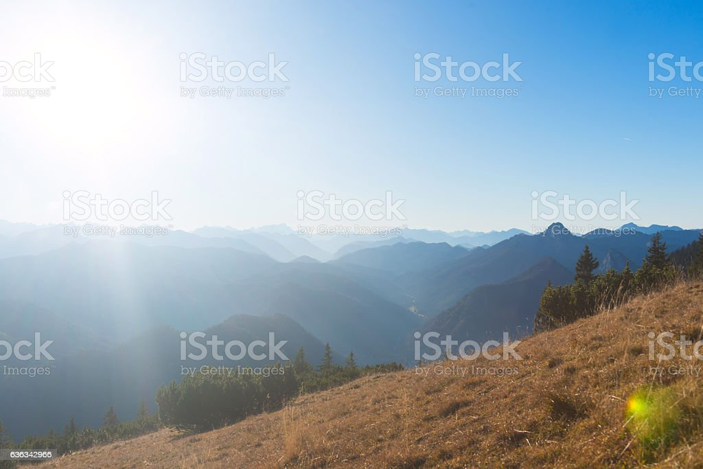 mountain panorama in bavaria european alps view from Risserkogl stock photo