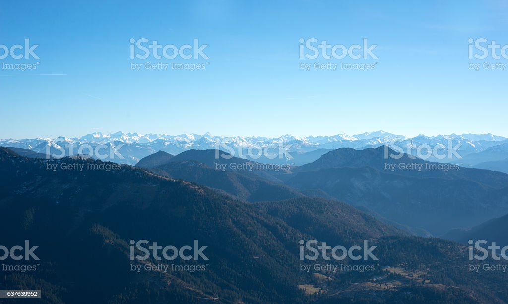 mountain panorama in european alps at guffertspitze in bavaria stock photo