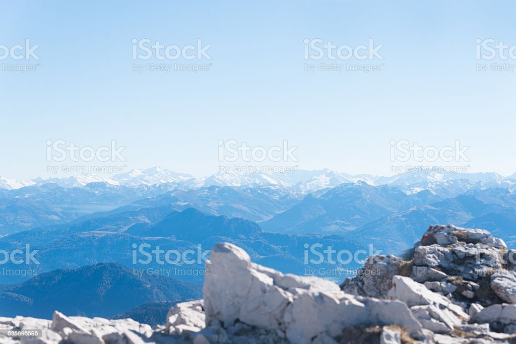 mountain panorama in european alps stock photo
