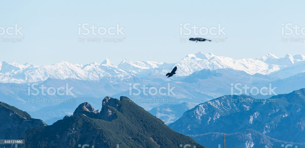 mountain panorama in european alps with alpine cough stock photo