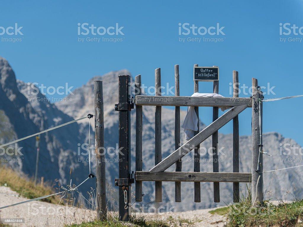 mountain panorama in karwendel european alps through gate stock photo