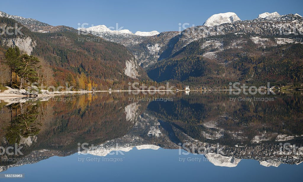 Mountain Panorama Reflection - Austrian Alps stock photo