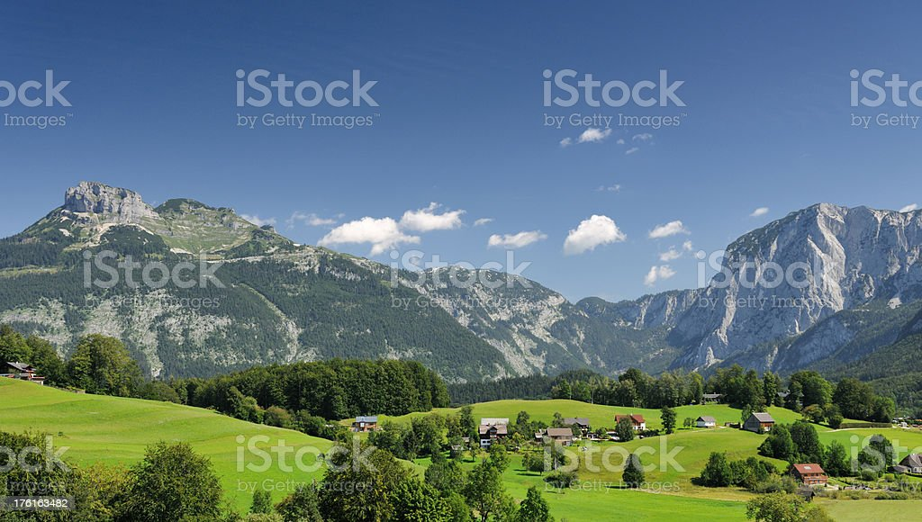 Mountain Panorama - Small Village, Salzkammergut, Austrian Alps stock photo